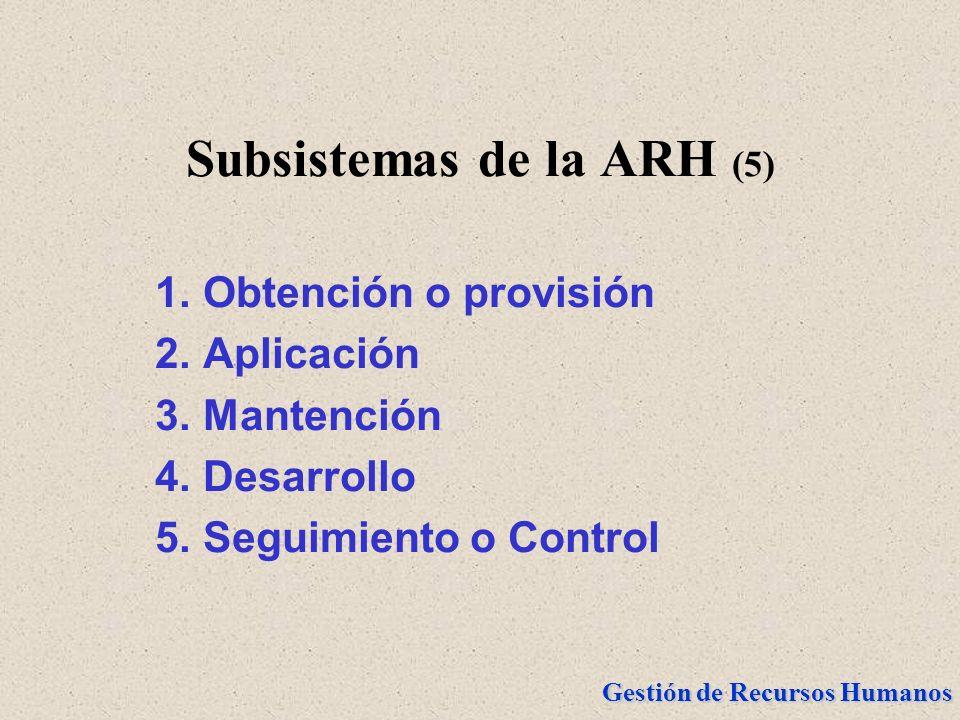 Subsistemas de la ARH (5)