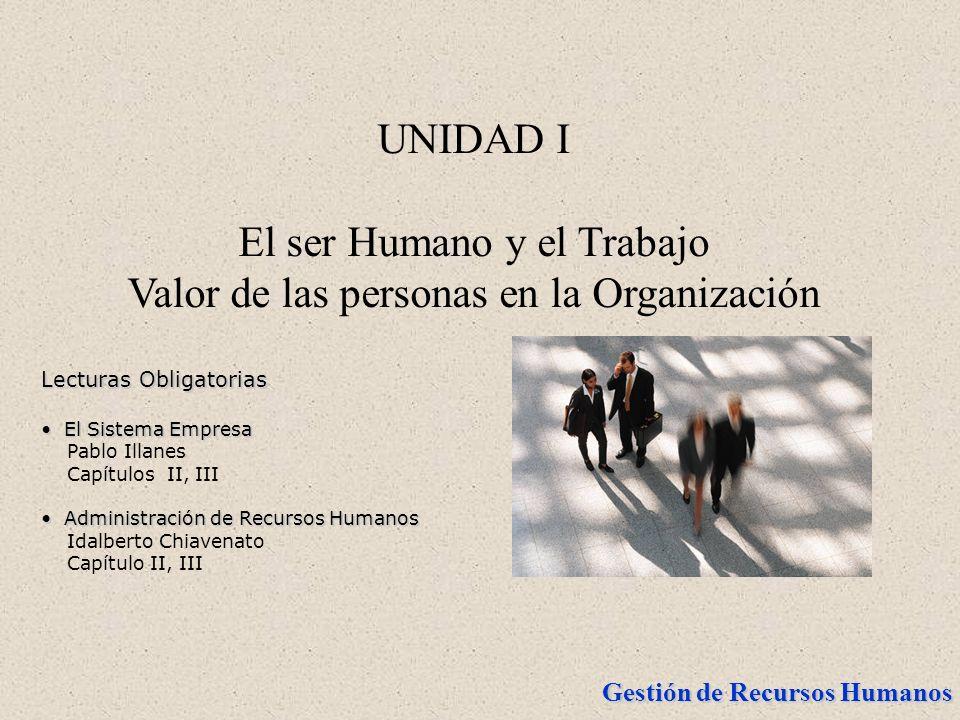 UNIDAD I El ser Humano y el Trabajo Valor de las personas en la Organización