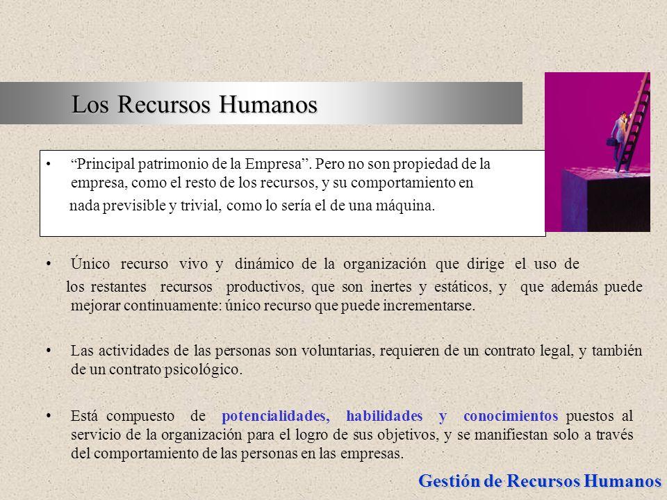 Los Recursos Humanos Principal patrimonio de la Empresa . Pero no son propiedad de la empresa, como el resto de los recursos, y su comportamiento en.