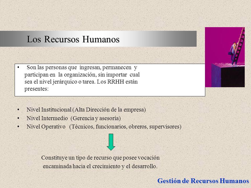 Los Recursos Humanos Son las personas que ingresan, permanecen y