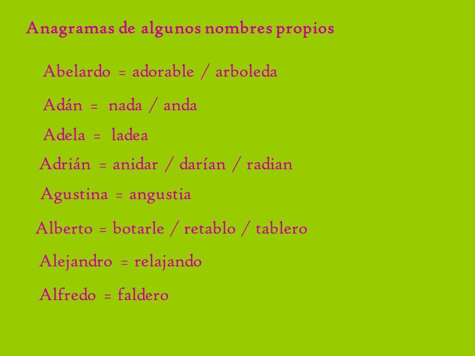 Anagramas de algunos nombres propios