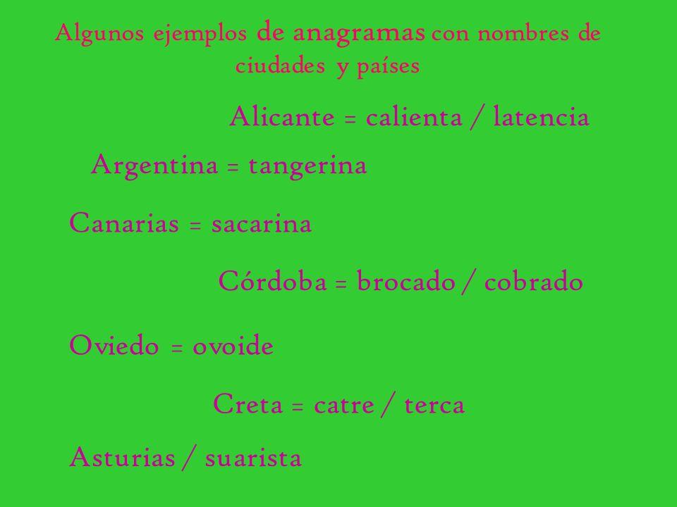 Algunos ejemplos de anagramas con nombres de ciudades y países