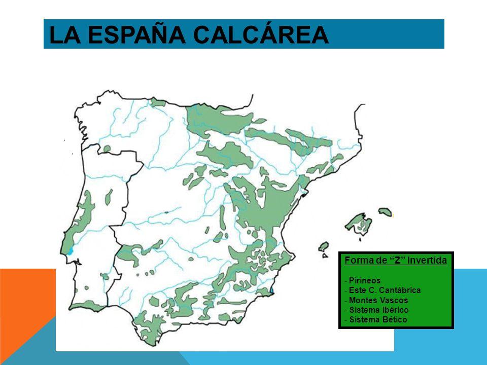 LA ESPAÑA CALCÁREA Forma de Z Invertida Pirineos Este C. Cantábrica