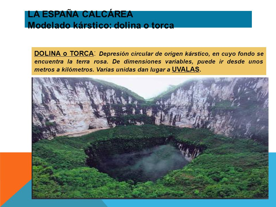 LA ESPAÑA CALCÁREA Modelado kárstico: dolina o torca