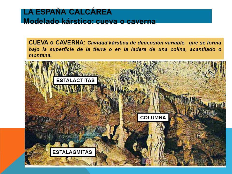LA ESPAÑA CALCÁREA Modelado kárstico: cueva o caverna