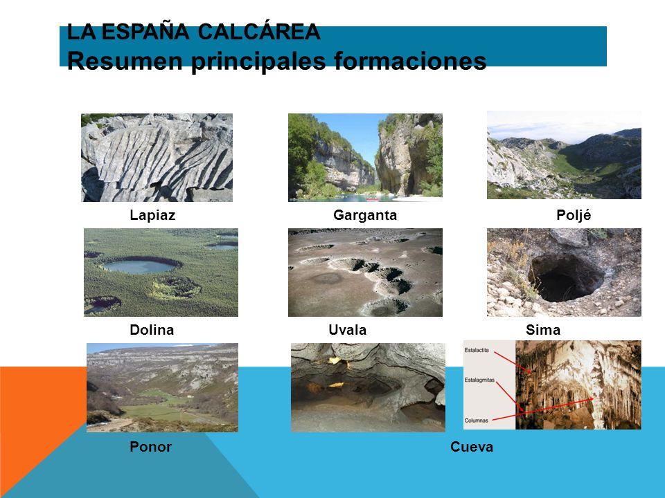LA ESPAÑA CALCÁREA Resumen principales formaciones