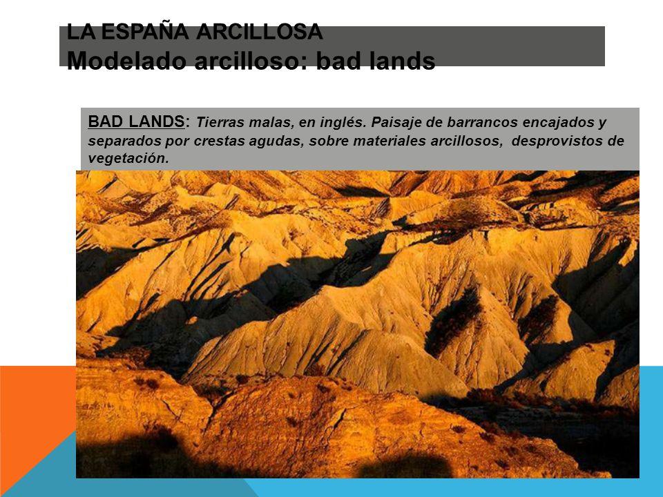 LA ESPAÑA ARCILLOSA Modelado arcilloso: bad lands