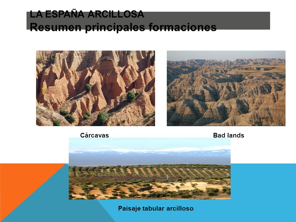 LA ESPAÑA ARCILLOSA Resumen principales formaciones
