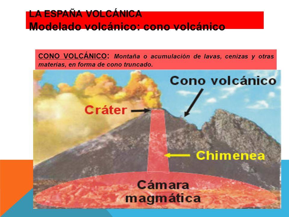 LA ESPAÑA VOLCÁNICA Modelado volcánico: cono volcánico