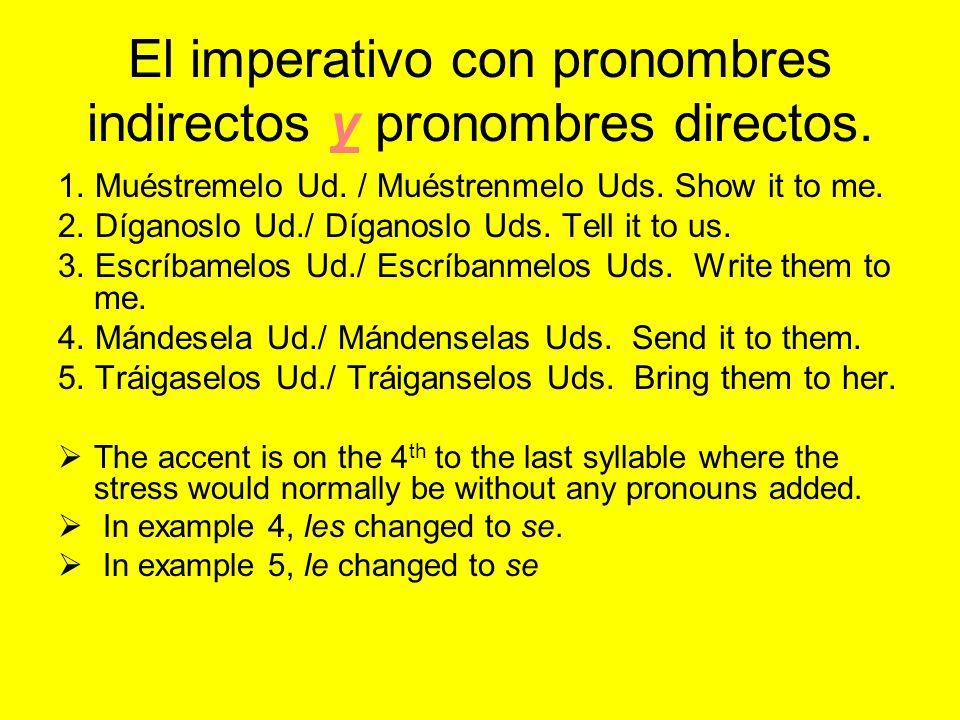 El imperativo con pronombres indirectos y pronombres directos.