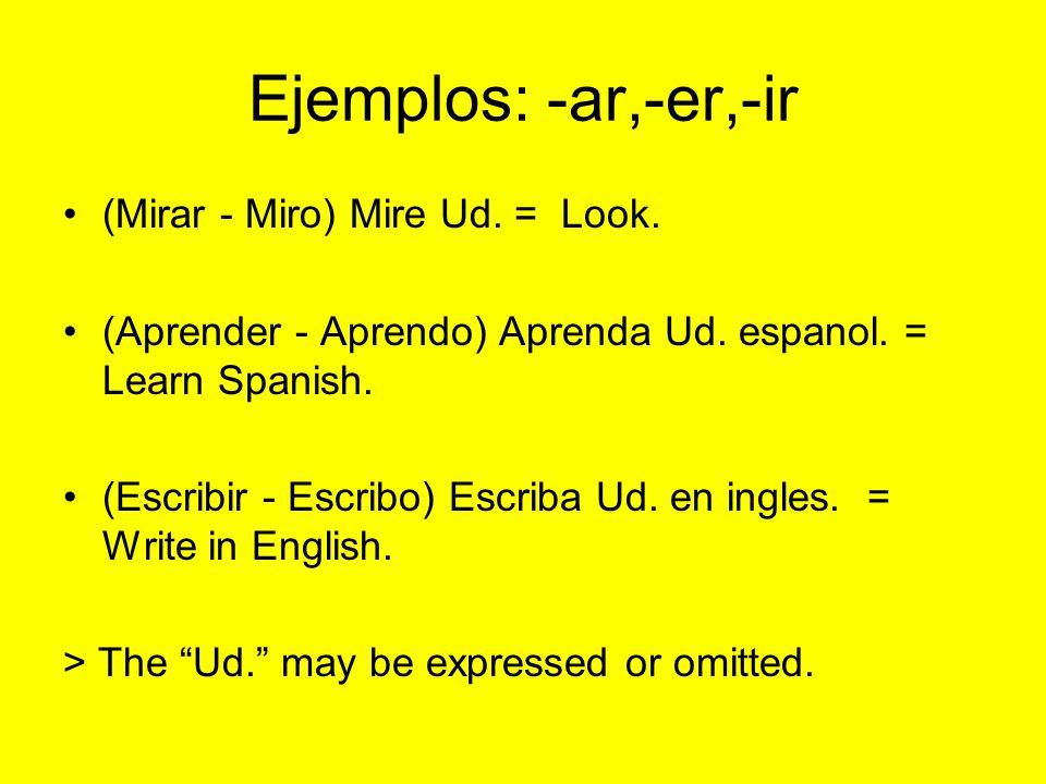 Ejemplos: -ar,-er,-ir (Mirar - Miro) Mire Ud. = Look.