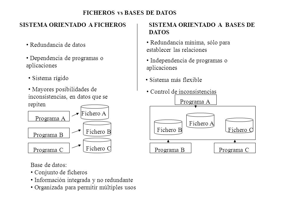 FICHEROS vs BASES DE DATOS