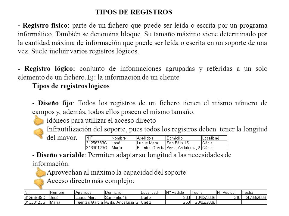 TIPOS DE REGISTROS