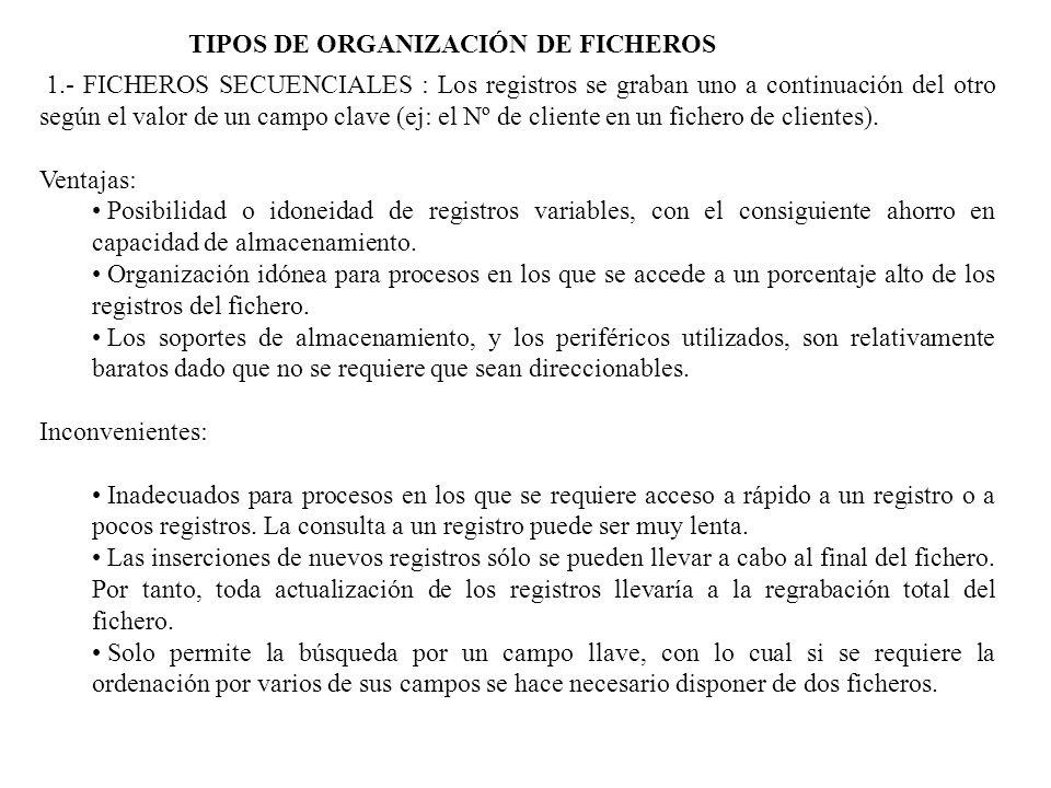 TIPOS DE ORGANIZACIÓN DE FICHEROS