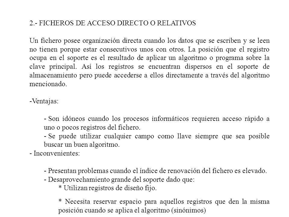 2.- FICHEROS DE ACCESO DIRECTO O RELATIVOS