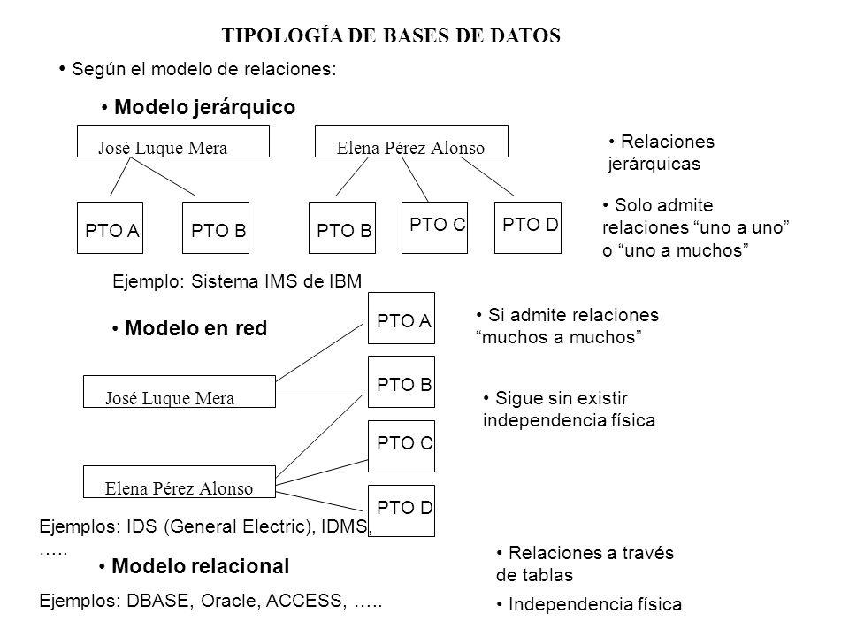 TIPOLOGÍA DE BASES DE DATOS