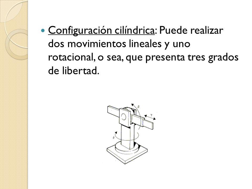 Configuración cilíndrica: Puede realizar dos movimientos lineales y uno rotacional, o sea, que presenta tres grados de libertad.