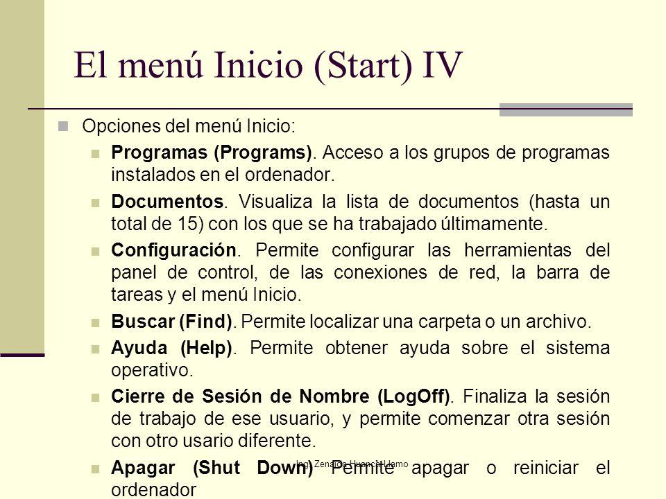 El menú Inicio (Start) IV