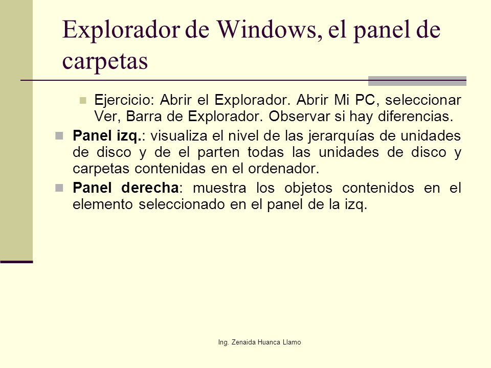 Explorador de Windows, el panel de carpetas