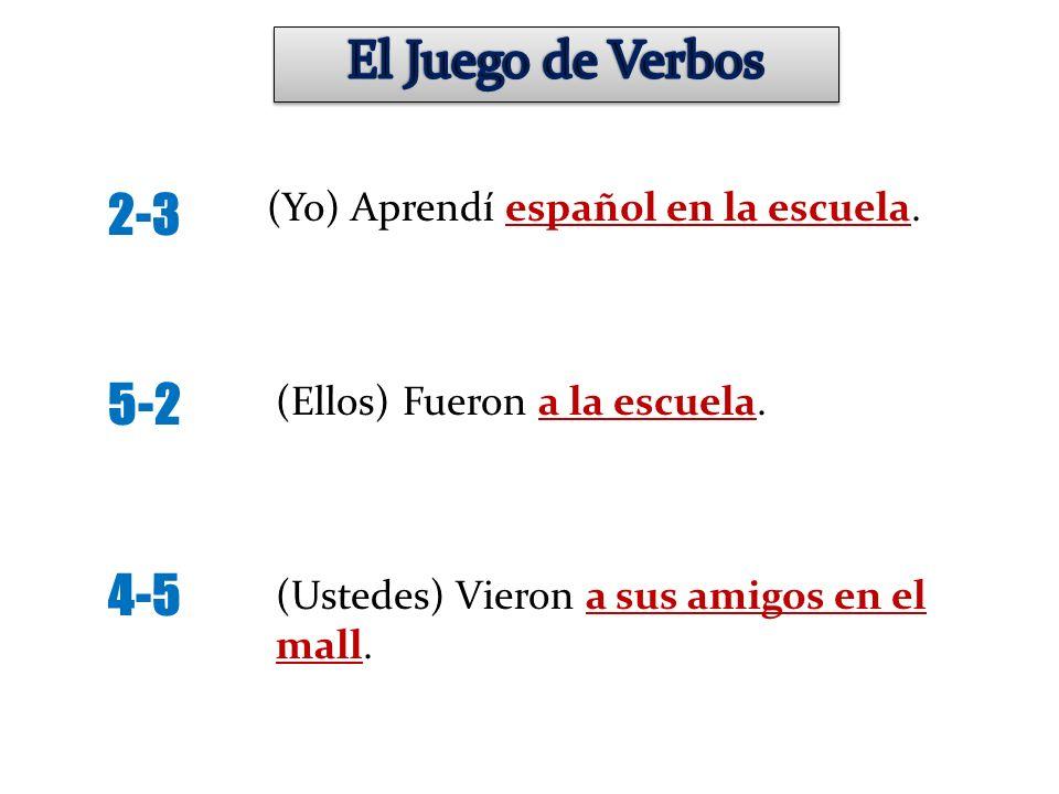 El Juego de Verbos 2-3 5-2 4-5 (Yo) Aprendí español en la escuela.