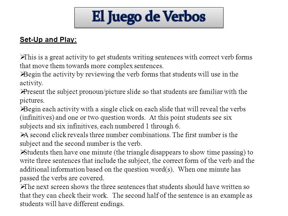 El Juego de Verbos Set-Up and Play: