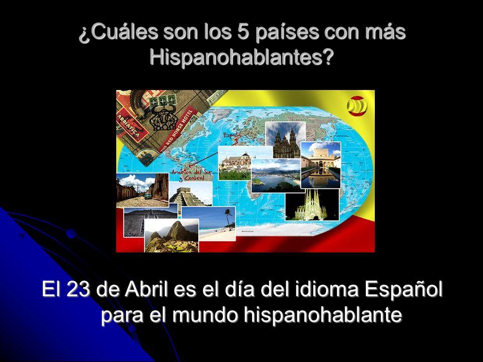 ¿Cuáles son los 5 países con más Hispanohablantes
