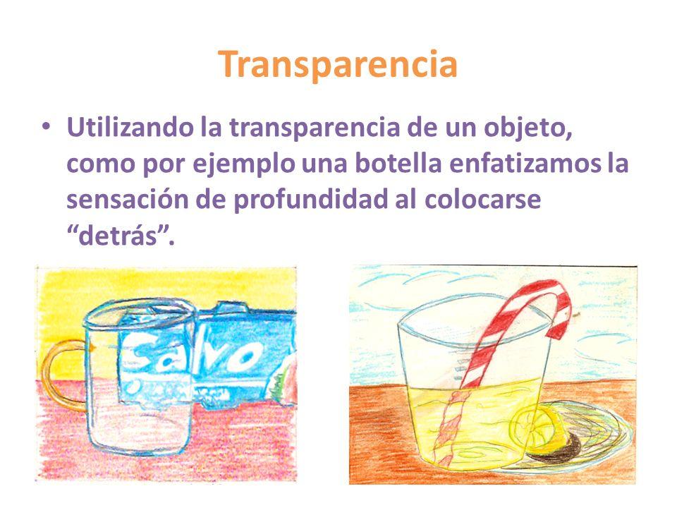 TransparenciaUtilizando la transparencia de un objeto, como por ejemplo una botella enfatizamos la sensación de profundidad al colocarse detrás .