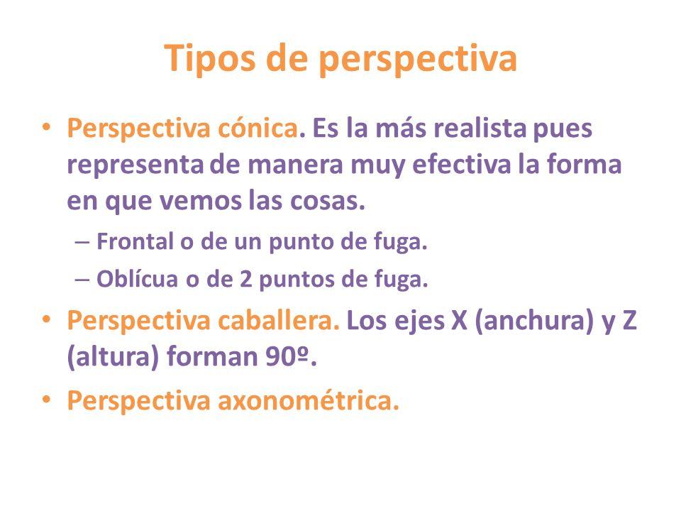 Tipos de perspectivaPerspectiva cónica. Es la más realista pues representa de manera muy efectiva la forma en que vemos las cosas.