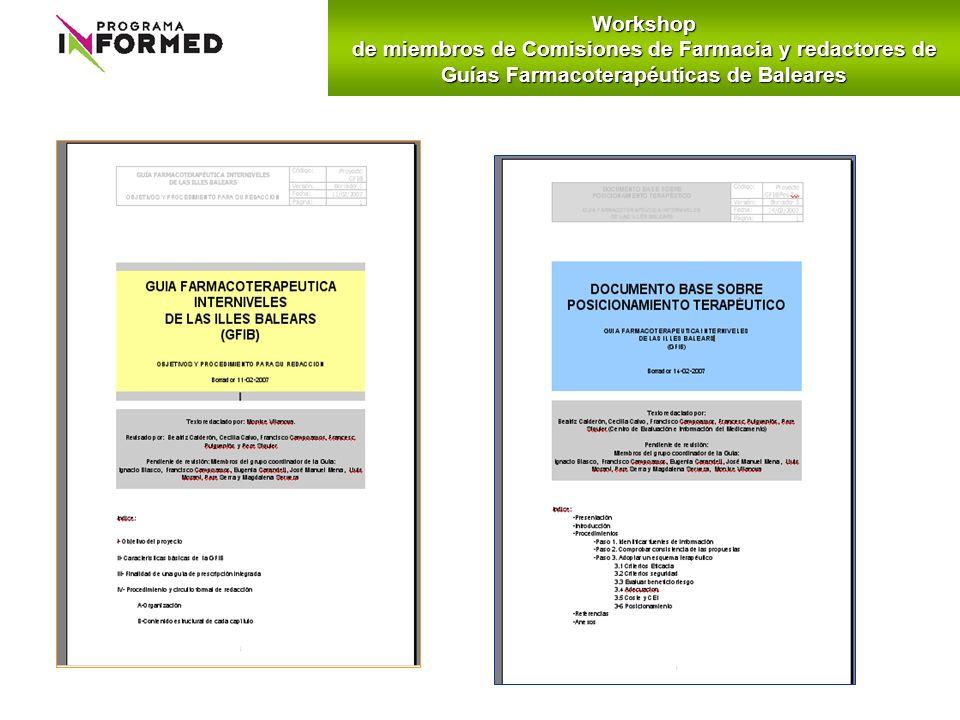Workshopde miembros de Comisiones de Farmacia y redactores de Guías Farmacoterapéuticas de Baleares.