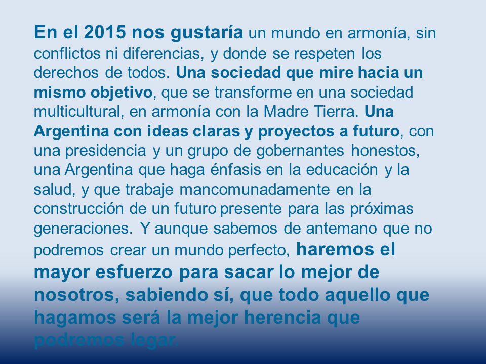En el 2015 nos gustaría un mundo en armonía, sin conflictos ni diferencias, y donde se respeten los derechos de todos.