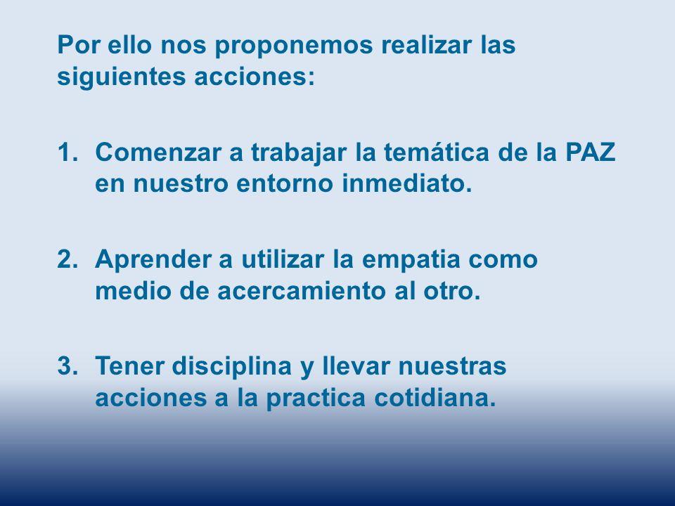 Por ello nos proponemos realizar las siguientes acciones: