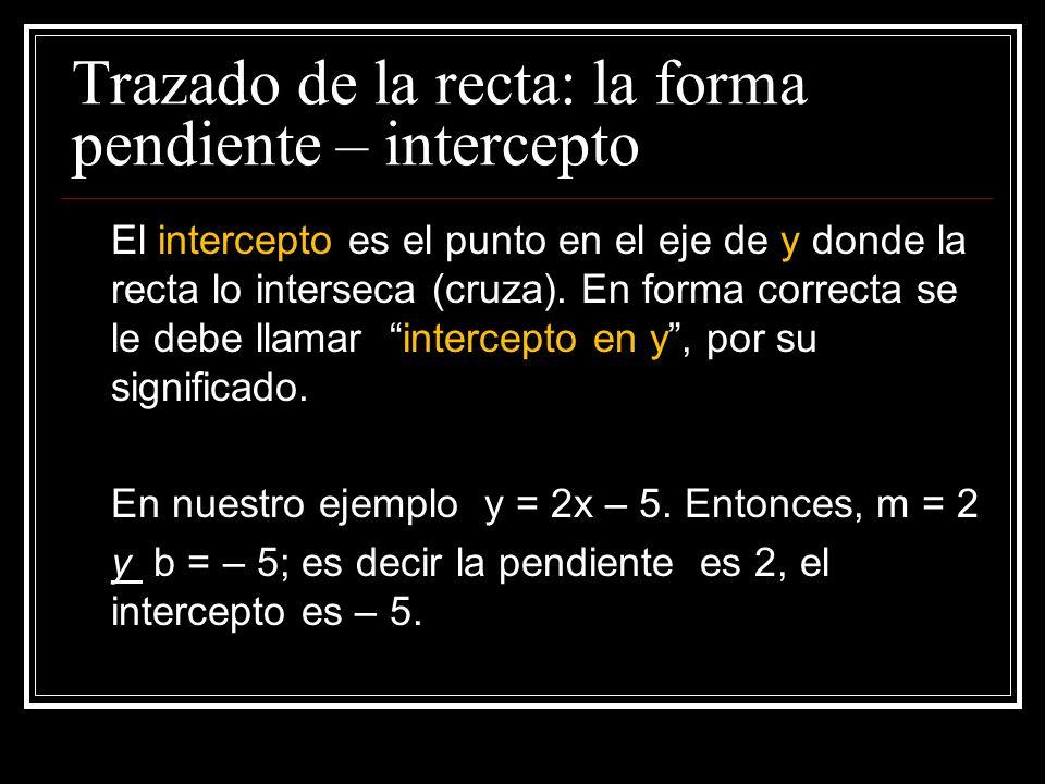 Trazado de la recta: la forma pendiente – intercepto
