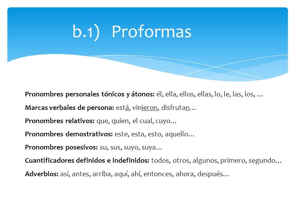 b.1) ProformasPronombres personales tónicos y átonos: él, ella, ellos, ellas, lo, le, las, los, …