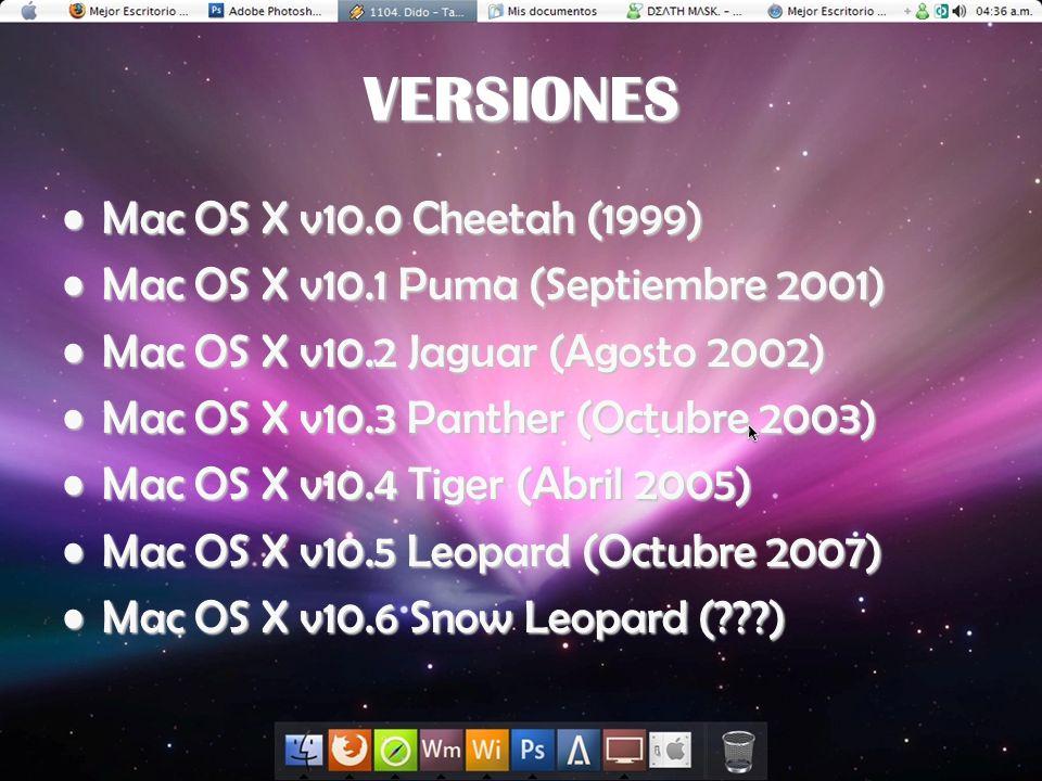 VERSIONES Mac OS X v10.0 Cheetah (1999)