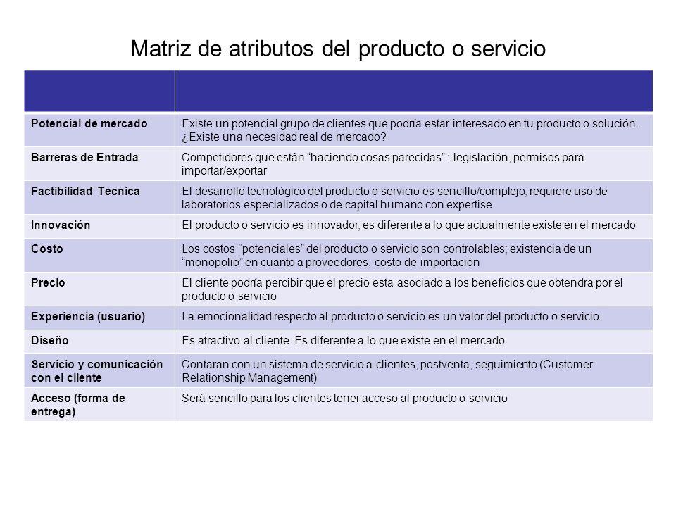 Matriz de atributos del producto o servicio