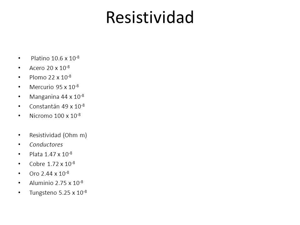 Resistividad Platino 10.6 x 10-8 Acero 20 x 10-8 Plomo 22 x 10-8
