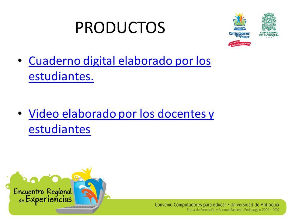 PRODUCTOS Cuaderno digital elaborado por los estudiantes.