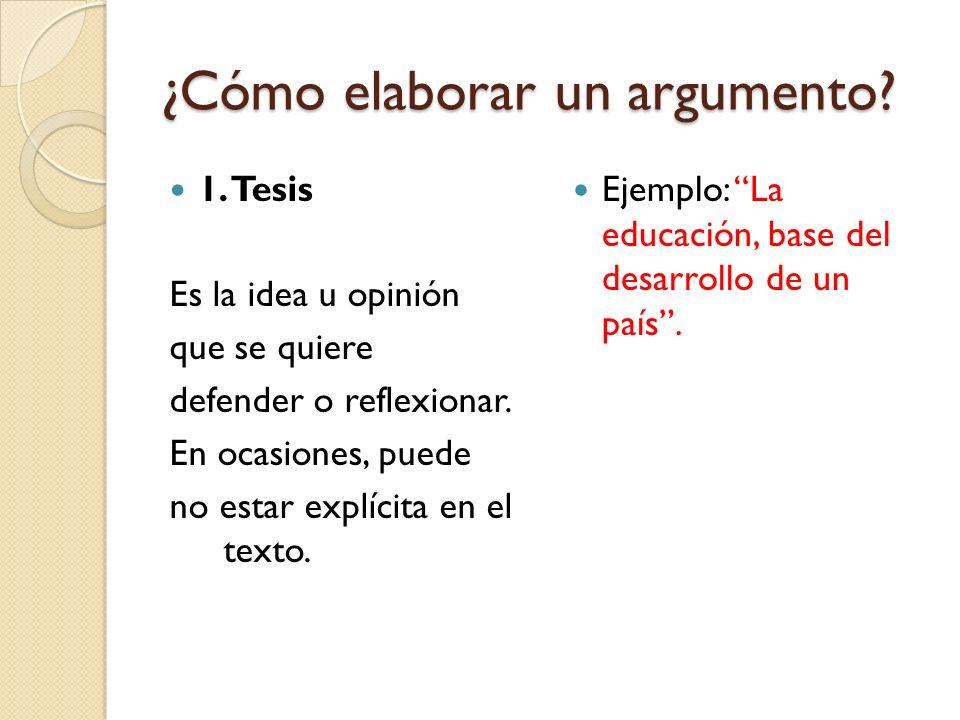 ¿Cómo elaborar un argumento