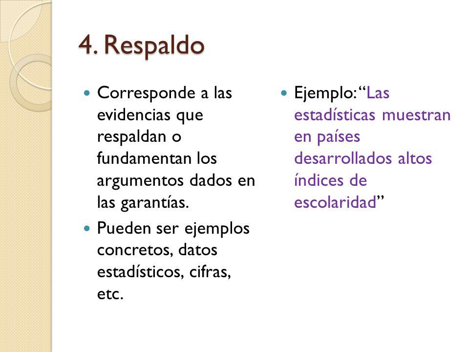 4. Respaldo Corresponde a las evidencias que respaldan o fundamentan los argumentos dados en las garantías.