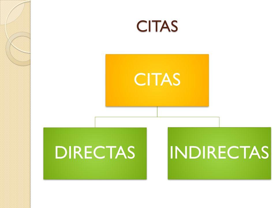 CITAS CITAS DIRECTAS INDIRECTAS