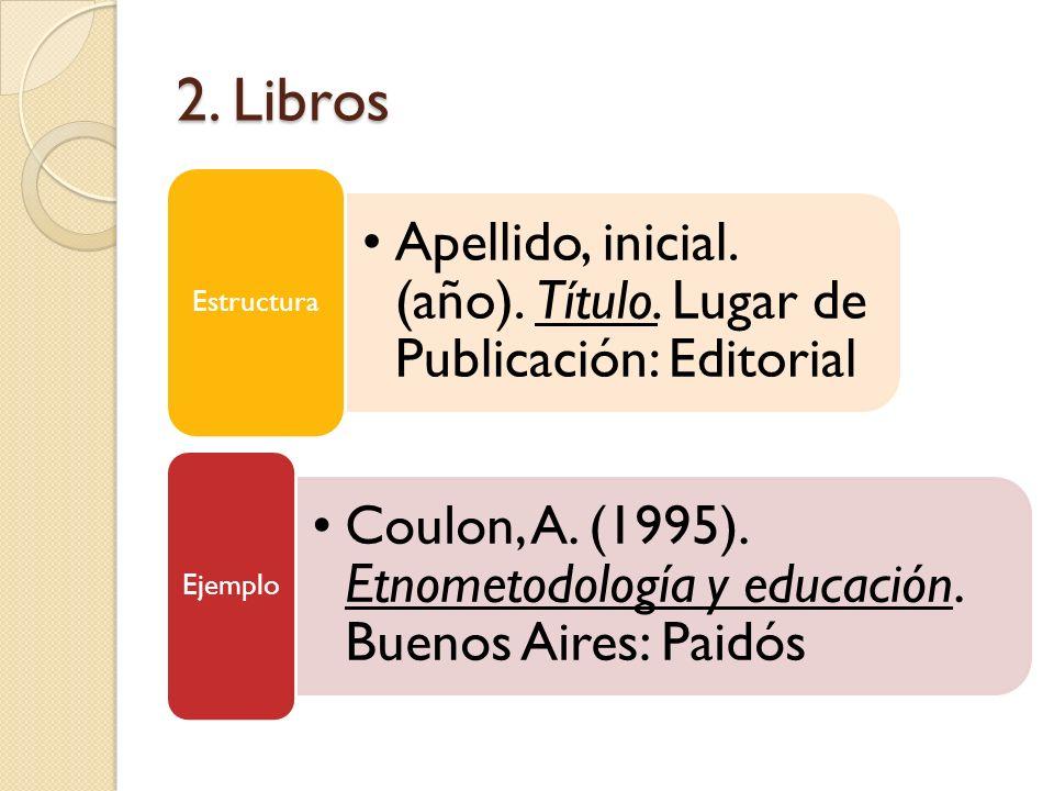 2. LibrosEstructura. Apellido, inicial. (año). Título. Lugar de Publicación: Editorial. Ejemplo.