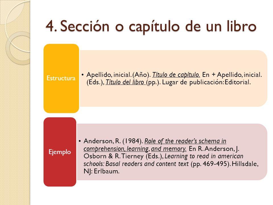 4. Sección o capítulo de un libro