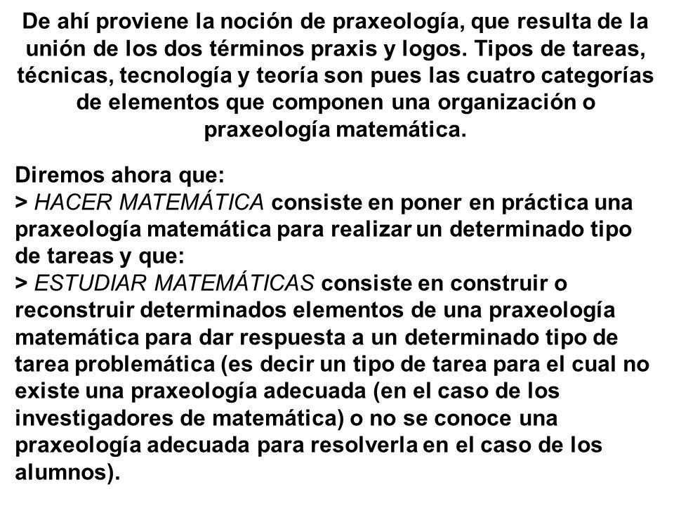 De ahí proviene la noción de praxeología, que resulta de la unión de los dos términos praxis y logos. Tipos de tareas, técnicas, tecnología y teoría son pues las cuatro categorías de elementos que componen una organización o praxeología matemática.