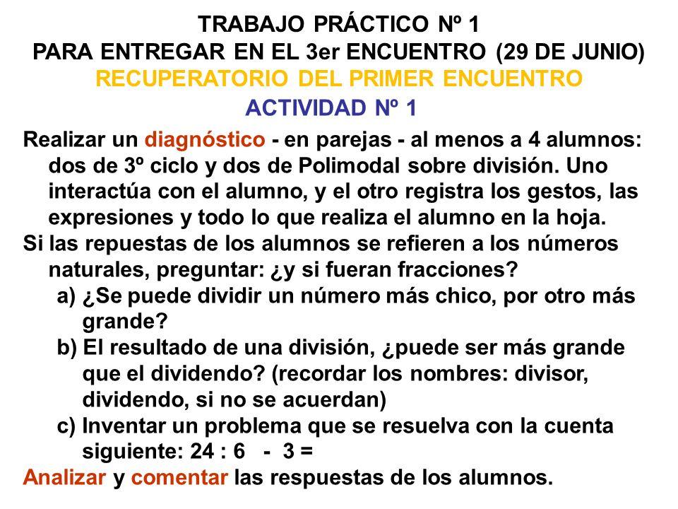 TRABAJO PRÁCTICO Nº 1 PARA ENTREGAR EN EL 3er ENCUENTRO (29 DE JUNIO) RECUPERATORIO DEL PRIMER ENCUENTRO.