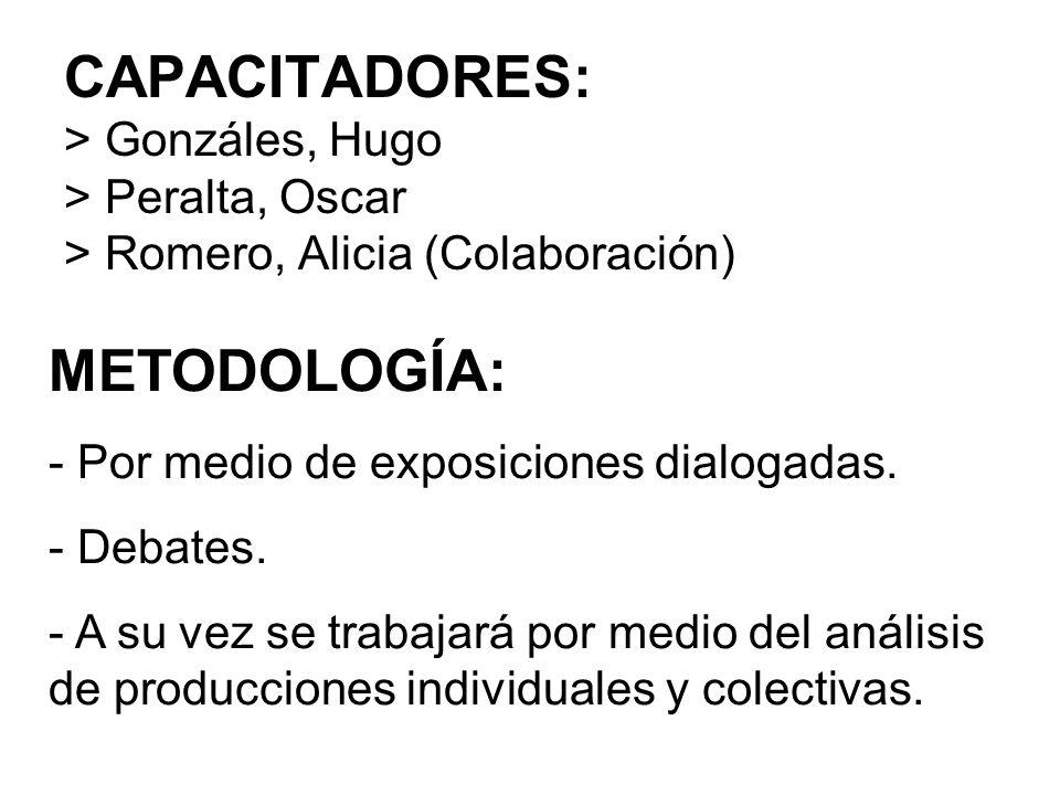 CAPACITADORES: > Gonzáles, Hugo > Peralta, Oscar > Romero, Alicia (Colaboración)