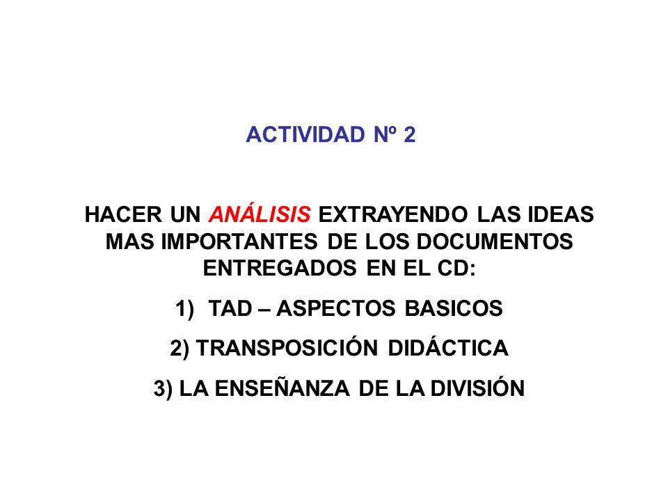 2) TRANSPOSICIÓN DIDÁCTICA 3) LA ENSEÑANZA DE LA DIVISIÓN