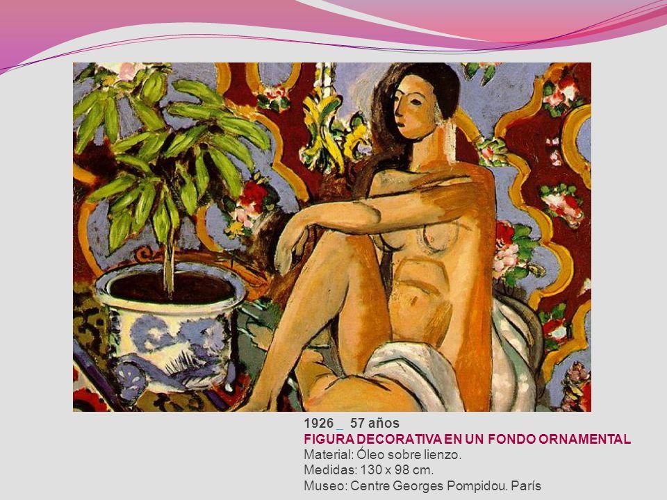 1926 57 años FIGURA DECORATIVA EN UN FONDO ORNAMENTAL Material: Óleo sobre lienzo.