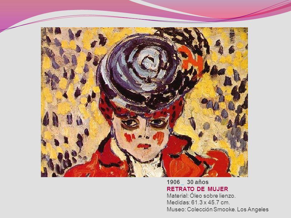 1906 30 años RETRATO DE MUJER Material: Óleo sobre lienzo.