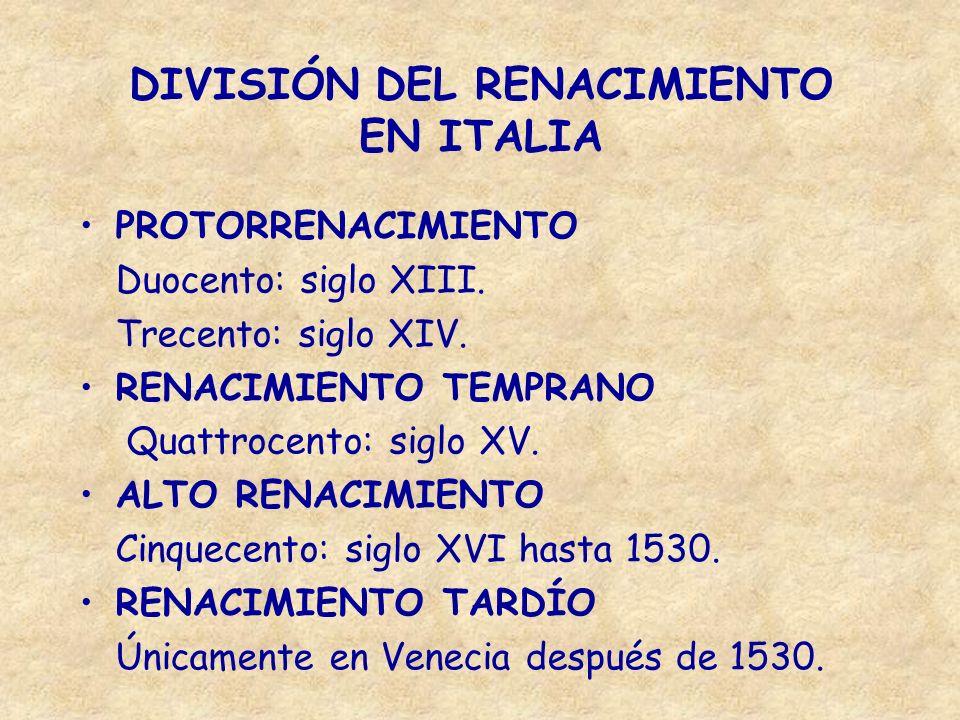 DIVISIÓN DEL RENACIMIENTO EN ITALIA