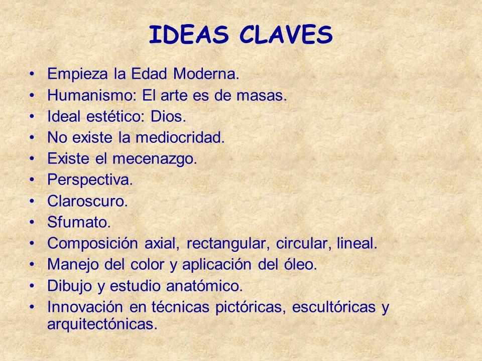IDEAS CLAVES Empieza la Edad Moderna. Humanismo: El arte es de masas.